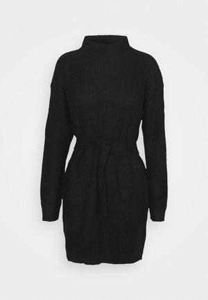 NECK BASIC DRESS WITH BELT - Neulemekko - black