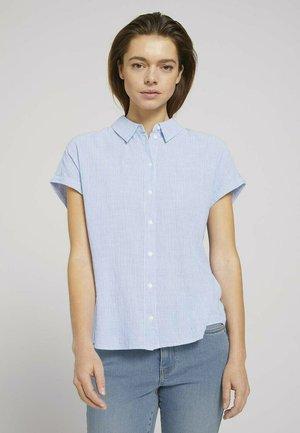 Button-down blouse - small blue white stripe