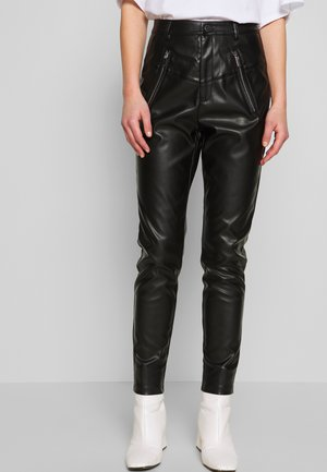 ZIP FRONT PANTS - Trousers - black