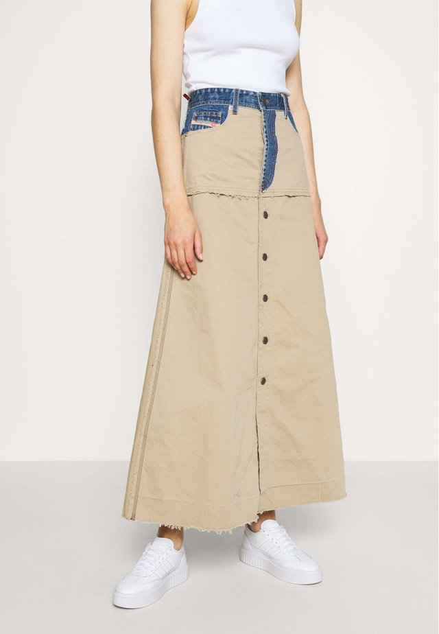 MISTY SKIRT - Maksihame - beige/blue denim