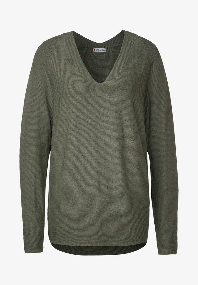MIT RIPPSTRUKTUR - Pullover - grün