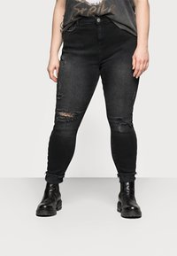 River Island Plus - AMELIE ZORRO RIPS - Jeans Skinny Fit - washed black - 0