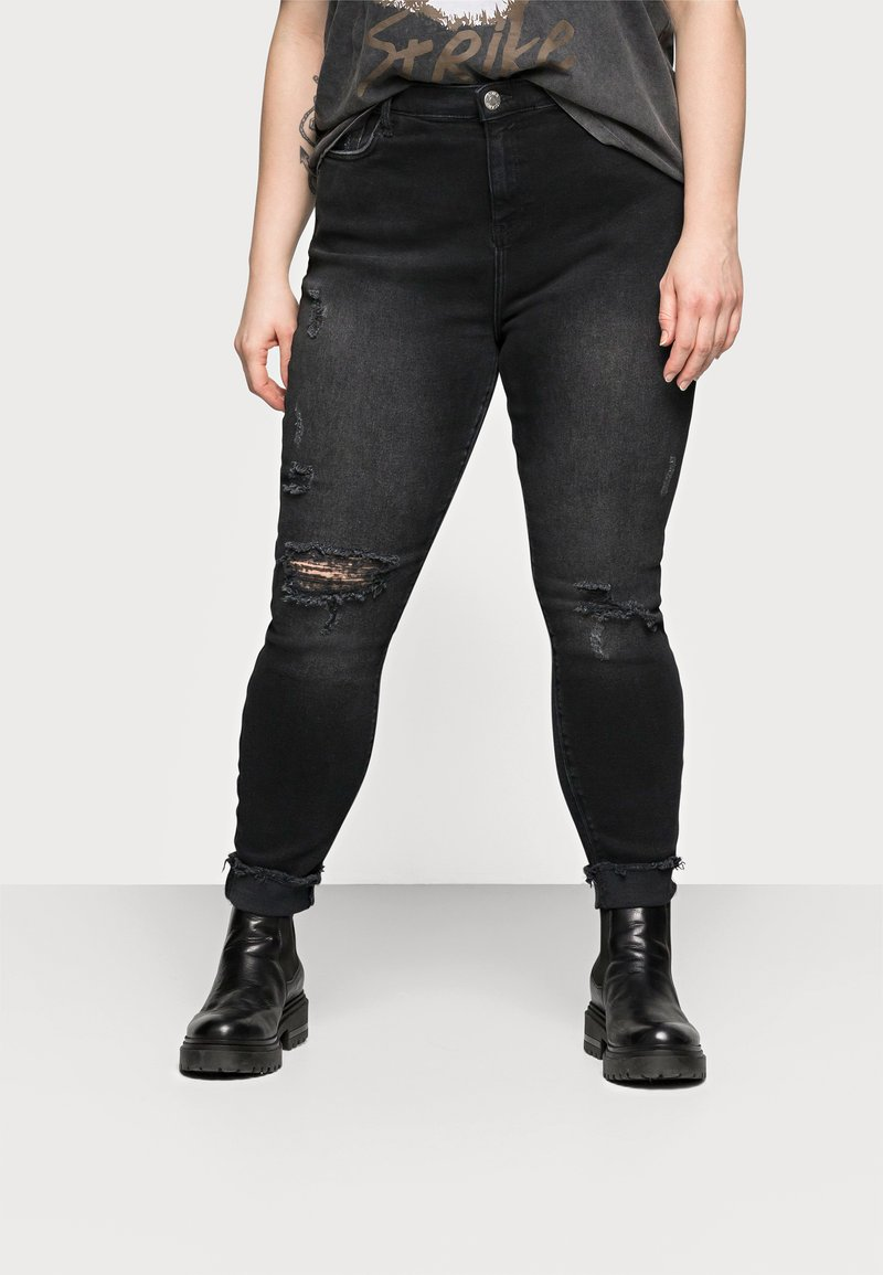 River Island Plus - AMELIE ZORRO RIPS - Jeans Skinny Fit - washed black
