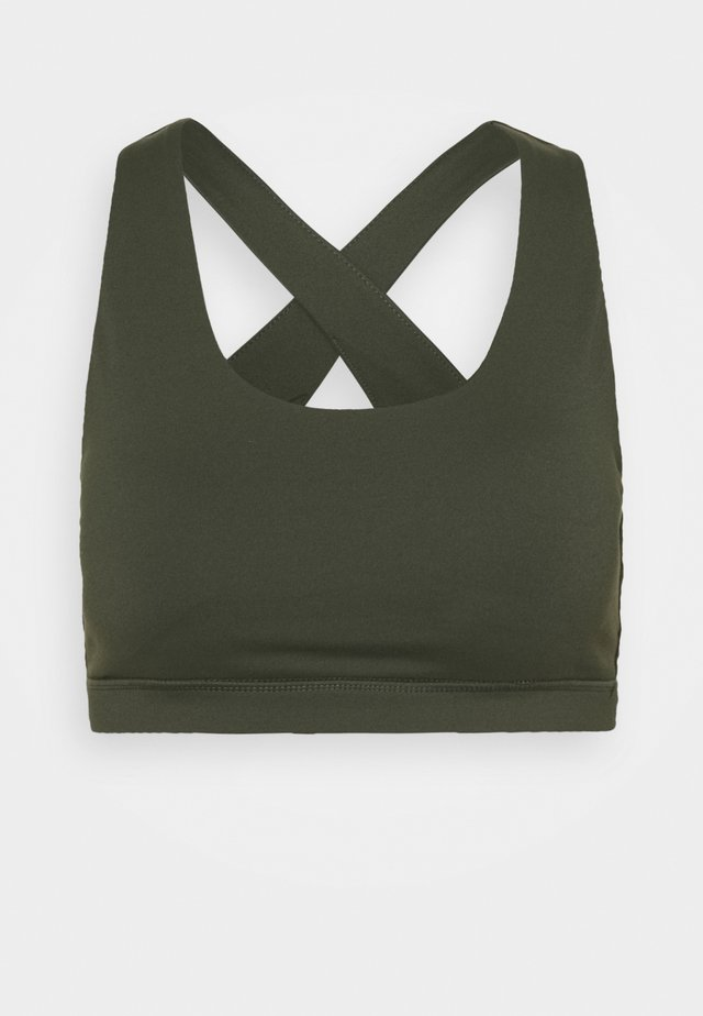 WORKOUT CUT OUT CROP - Sport-bh met light support - khaki