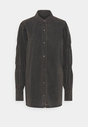 ELASTICATED PUFF SLEEVE DRESS - Denim dress - black