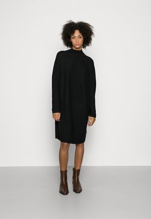 DRESS SHORTSLEEVE ROUND-NECK RICE CORN STRUCTURE - Jumper dress - black