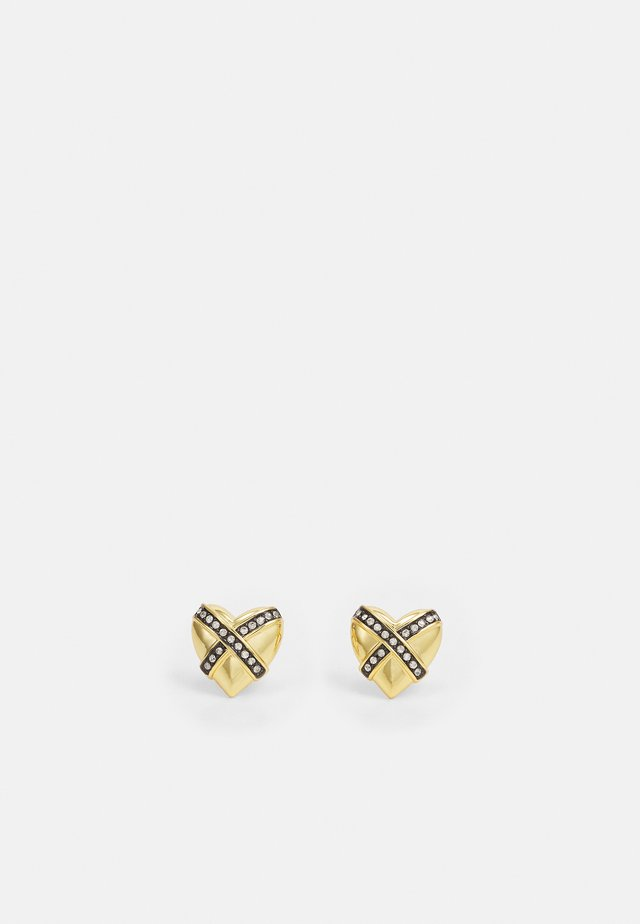 CROSS PUFFY HEART STUD EARRING - Ohrringe - gold-coloured