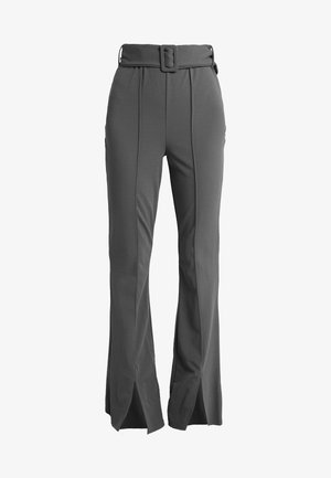BELTED SEAM FRONT FLARED TROUSERS - Pantalon classique - grey