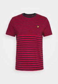 MULTI STRIPE - Print T-shirt - dark navy/chilli pepper red