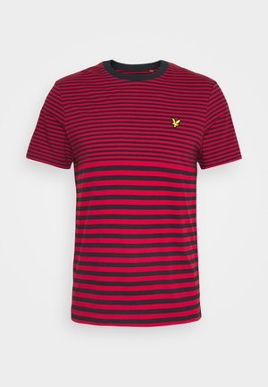 MULTI STRIPE - Print T-shirt - dark navy/chilli pepper red