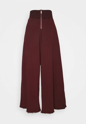SOLID BORDERLINE WIDE LEG - Tracksuit bottoms - wine