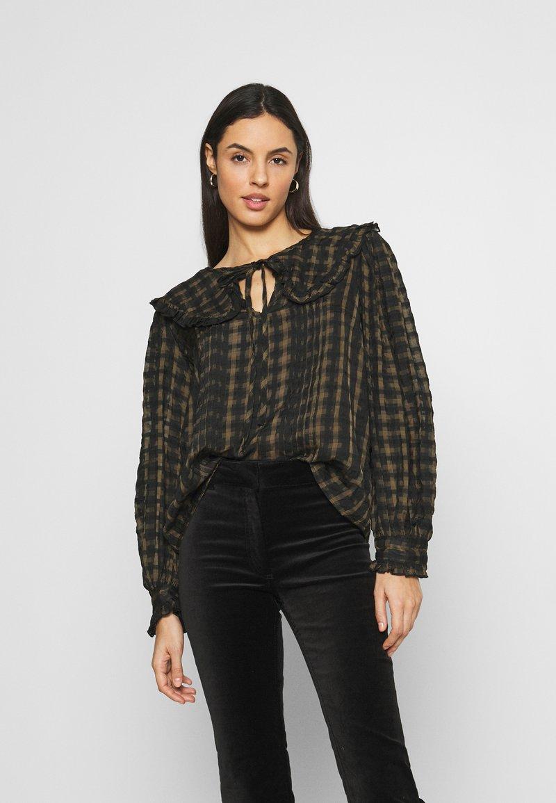 Topshop - CHECK COLLAR - Long sleeved top - khaki