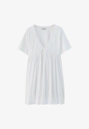 MIT V-AUSSCHNITT - Jersey dress - white