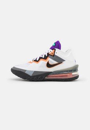 LEBRON XVIII LOW - Basketball shoes - white/black/iron grey/volt/bright crimson/tropical twist