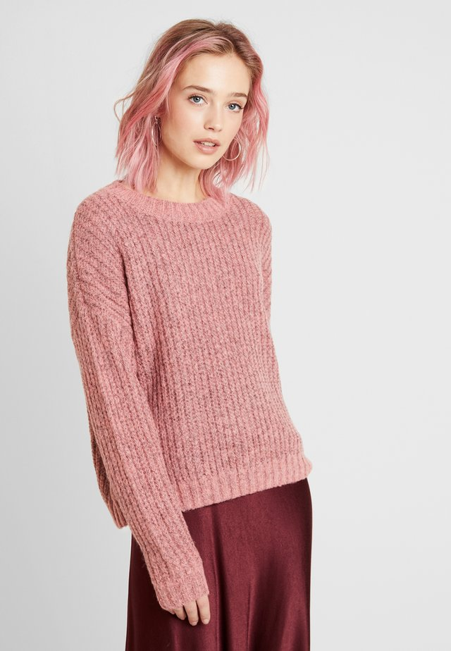 VMRUSH O-NECK - Neule - tea rose/black melange