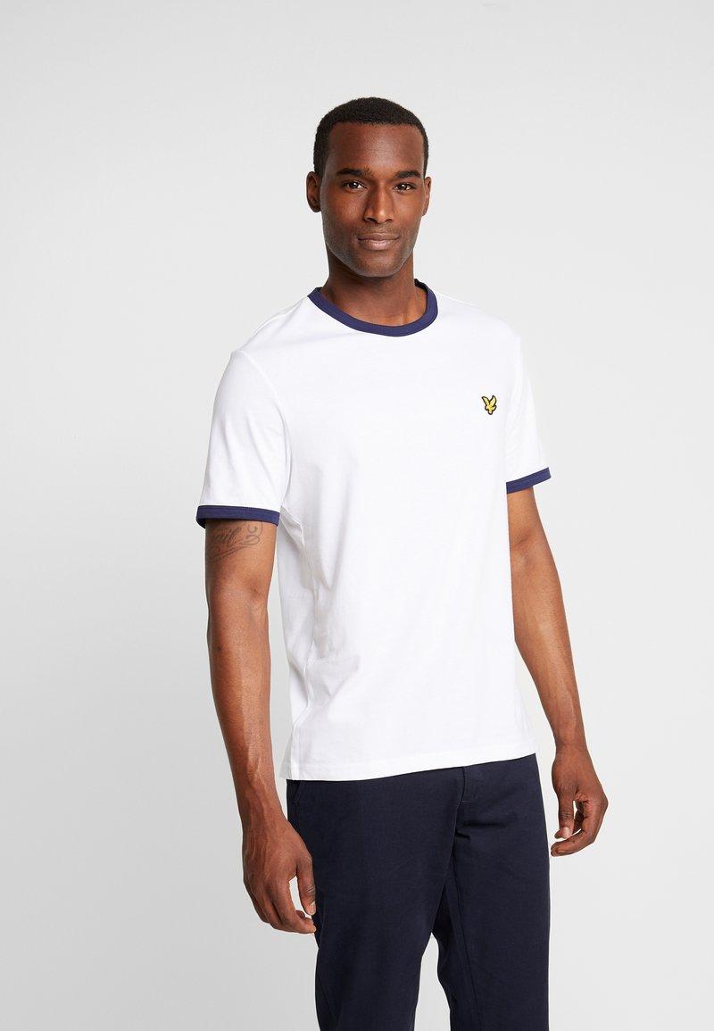 Lyle & Scott - RINGER TEE - T-shirt - bas - white/navy