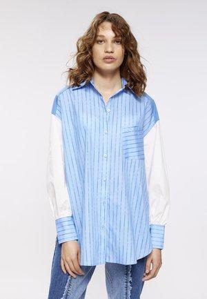 Overhemdblouse - beige/blau