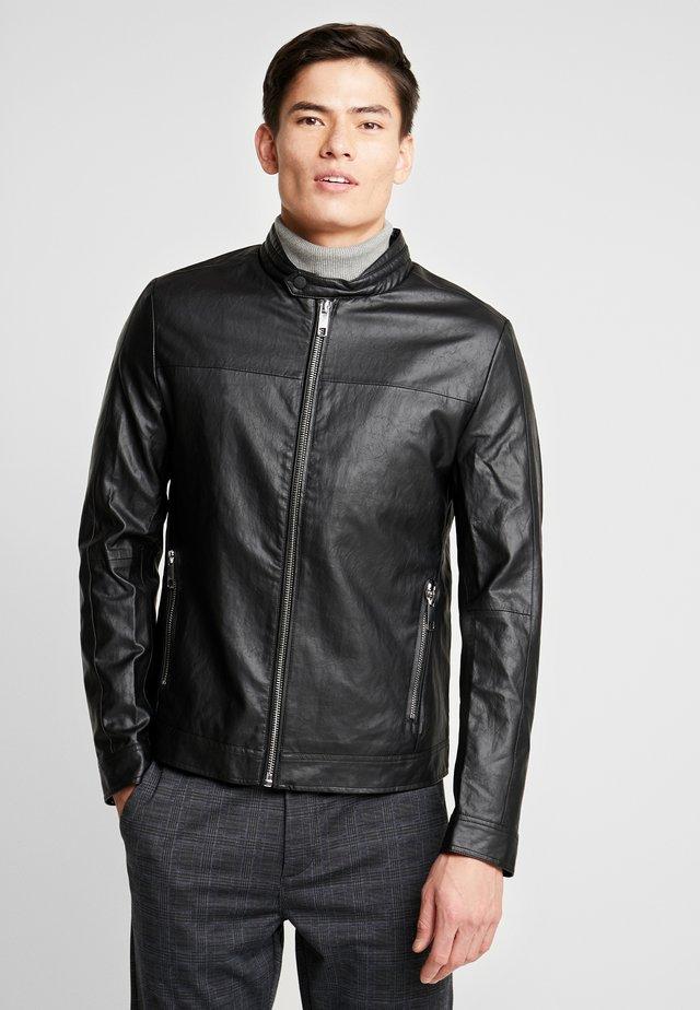 BIKER COAT - Faux leather jacket - black