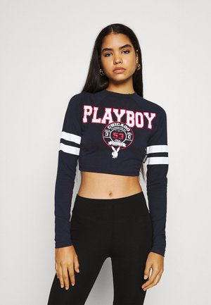 PLAYBOY VARSITY GRAPHIC CROP - Long sleeved top - navy