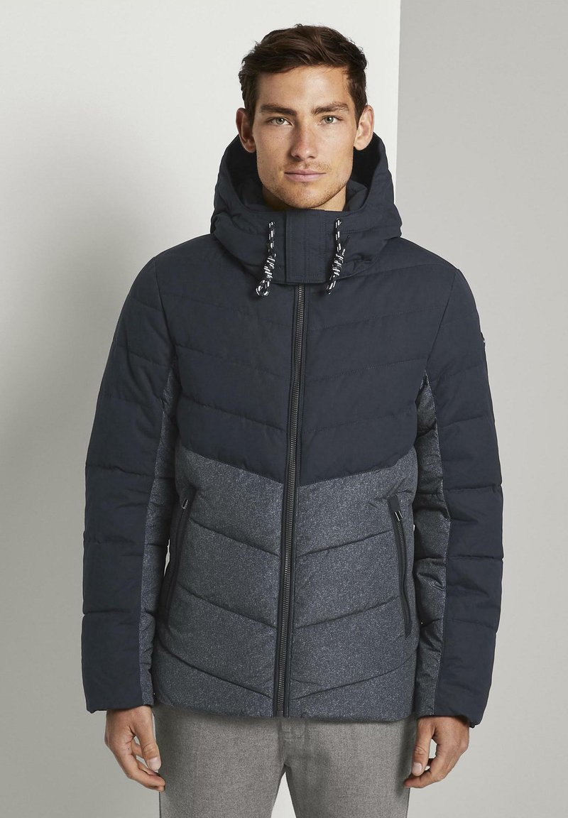 TOM TAILOR - Winter jacket - blue melange structure