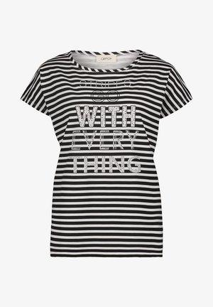 CASUAL MIT STREIFEN - Print T-shirt - weiß/schwarz