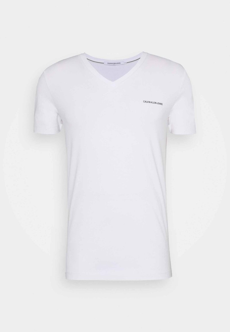 Calvin Klein Jeans - V NECK TEE - Printtipaita - bright white