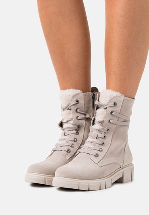 Lace-up ankle boots - ecru