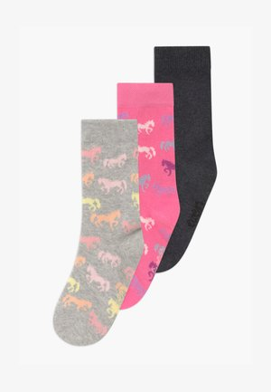 UNICORN UNISEX 3 PACK - Socks - pink/grau