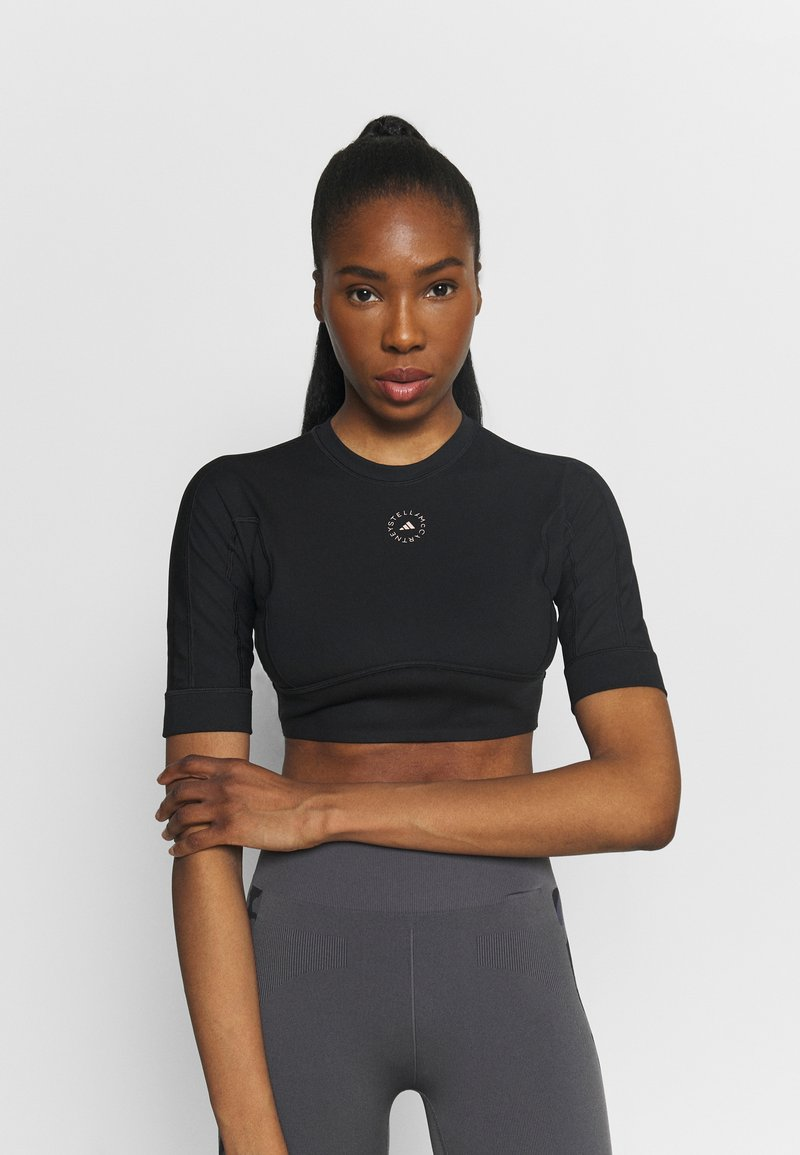 adidas by Stella McCartney - CROP - Camiseta básica - black