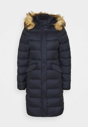 COAT LONG FILLED HOOD FLAP POCKETS - Down coat - midnight blue