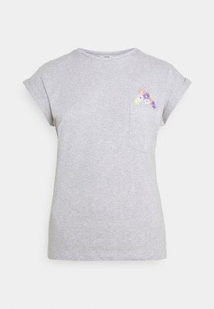 VISBY FLOWER POCKET - T-shirts med print - grey melange