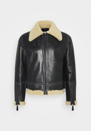 GENTS LEATHER SHORT SHEARLING JACKET - Kožená bunda - black