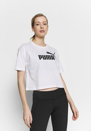 CROPPED LOGO - Print T-shirt - white