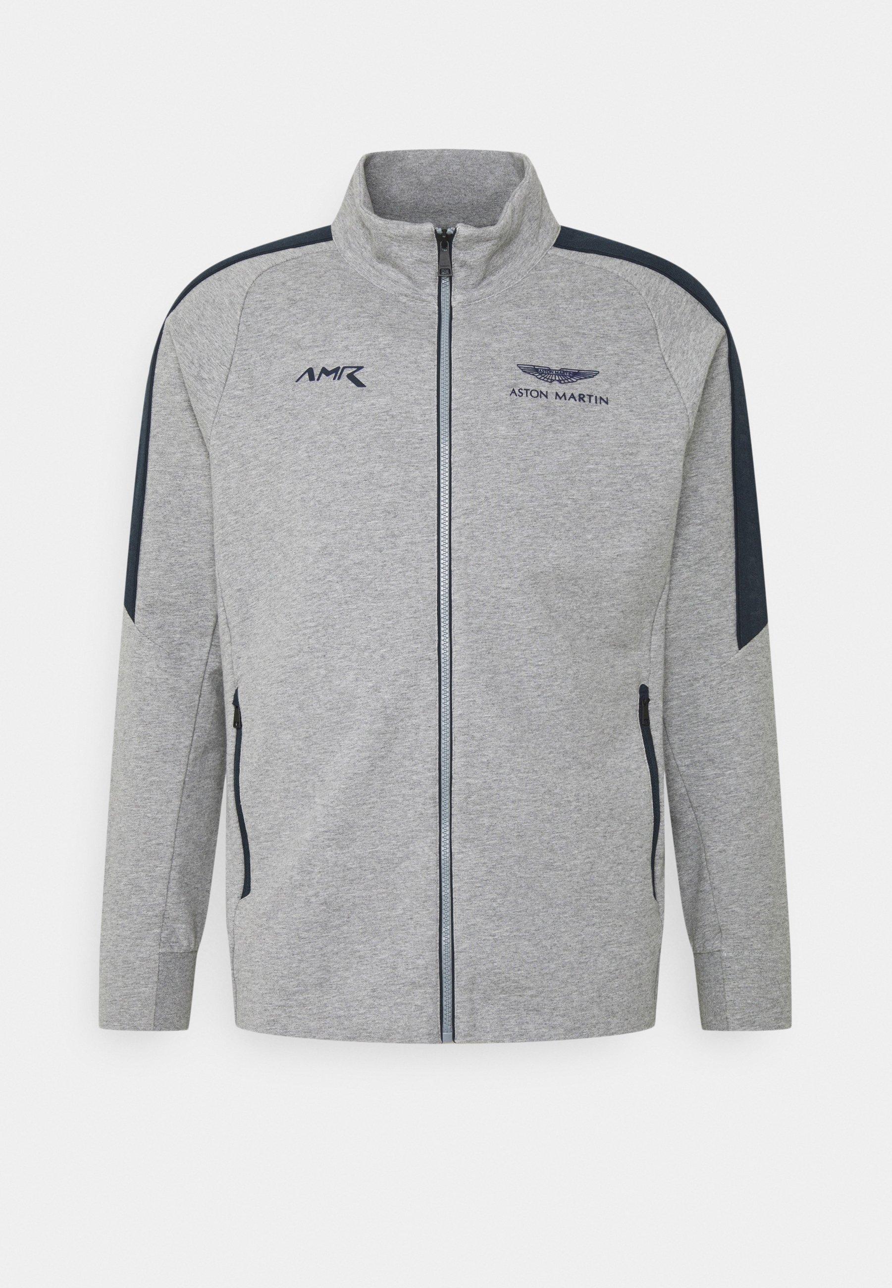 Hackett Aston Martin Racing Track Top Zip Up Hoodie Grey Marl Mottled Grey Zalando De