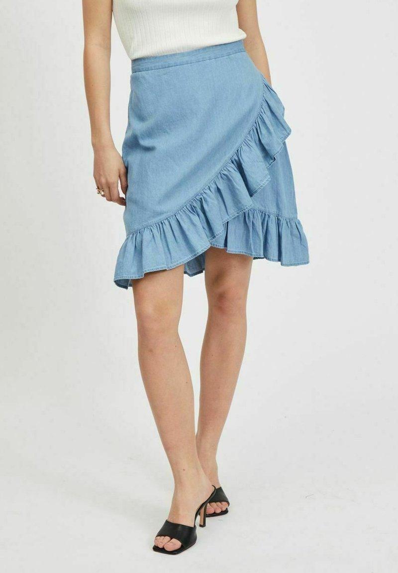 Vila - A-snit nederdel/ A-formede nederdele - light blue denim