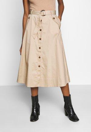 BUTTONED SKIRT - A-line skirt - beige/camel
