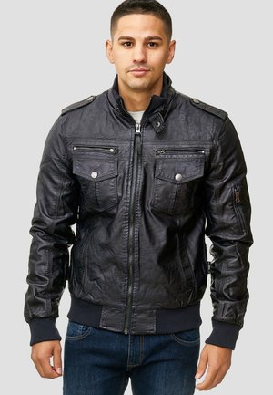 INCO - Faux leather jacket - navy