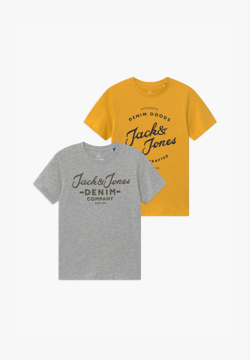 Jack & Jones Junior - JJHERO TEE CREW NECK 2 PACK - T-shirt med print - spicy mustard