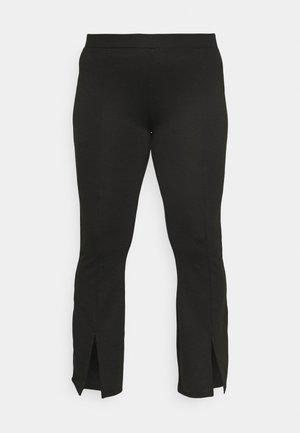 CARPEVER FLARED SLIT PANTS - Bikses - black