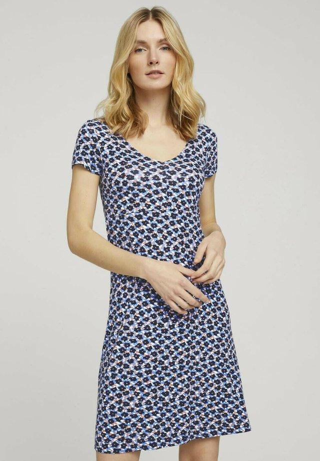 Sukienka z dżerseju - navy blue copper floral design