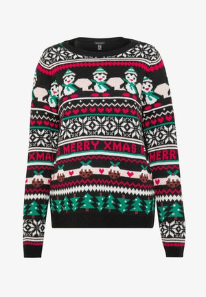 XMAS FAIRISLE JUMPER - Strickpullover - black
