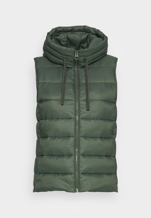 RECYCLED VEST FIX HOOD STAND UP COLL - Waistcoat - fresh moss