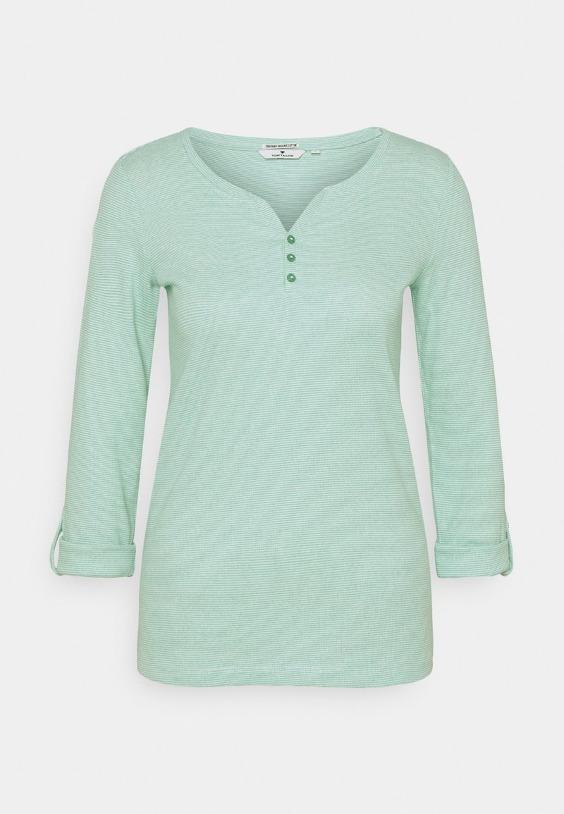 TOM TAILOR - Long sleeved top - offwhite/green