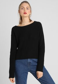 Even&Odd - BASIC- BACK DETAIL JUMPER - Neule - black - 2