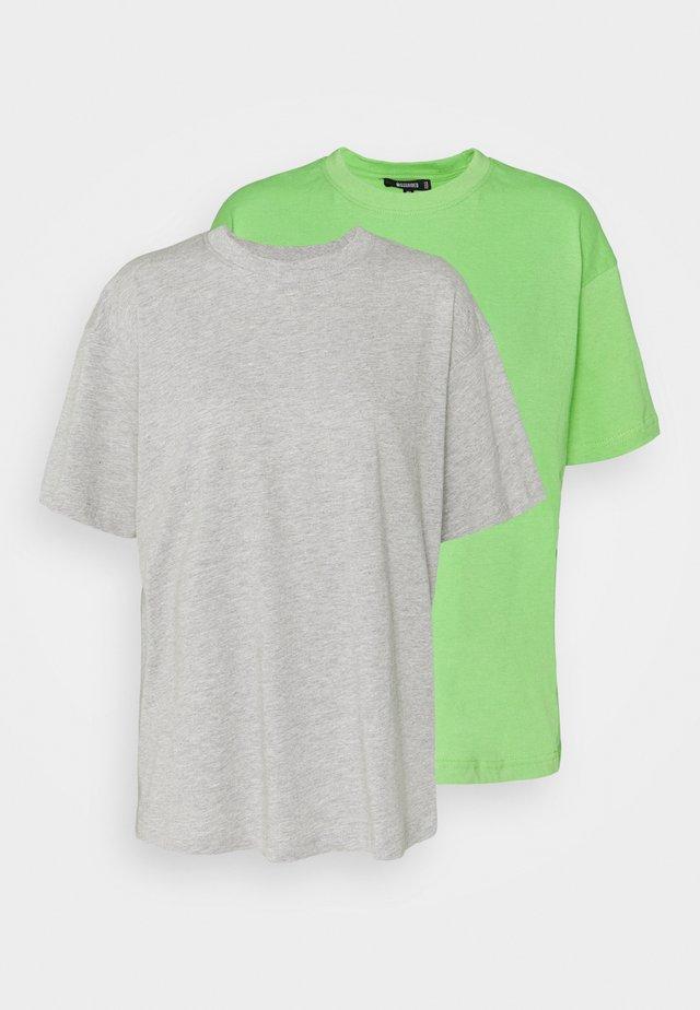 2 PACK SUNNY SHOULDER OVERSIZED - Basic T-shirt - grey/lime