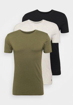 CREW 3 PACK - Undershirt - black/olive/oat heather