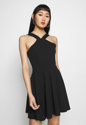 CRISS CROSS NECK SKATER DRESS - Vestido de cóctel - black