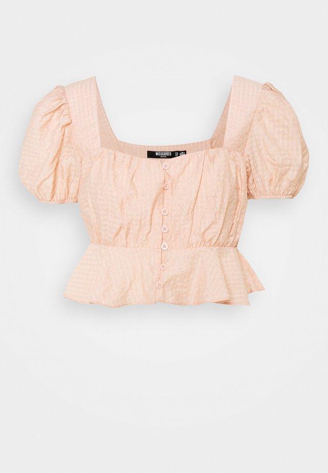 FRILL HEM CUFF SLEEVE CROP - Blouse - nude rose