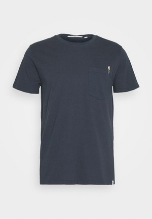 WITH CHEST POCKET AND EMBROIDERY - T-shirt con stampa - navy