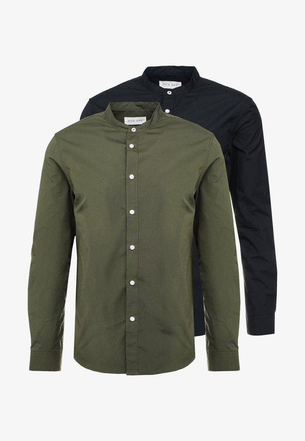 Pier One 2 PACK - Koszula - oliv/black/oliwkowy Odzież Męska DKIB